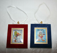 2 Lot Disney Goofy/Donald Velvet Framed Grenada Stamps Christmas Tree Ornament