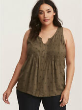 NEW Torrid Olive Owl Pleated Tank top plus size 2
