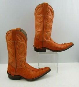 Men's Orange Leather Pointed Toe Western Cowboy Boots Size : 6 E?