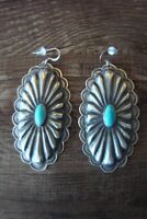 Navajo Sterling Silver Hand Stamped Turquoise Concho Dangle Earrings! by RL