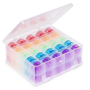 Hemline Bobbin Box with 50 Plastic Bobbins Multicoloured