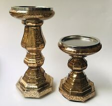 Glass Candle Holders Two Crackled Gold Holds 3 Wick Size Lights Up Inside Base
