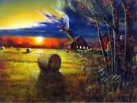 "Autumn Harvest  By Jim Hansel  Pheasant Farm Art  Print Image Size 16"" x 12"""