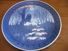 """Royal Copenhagen-Plate-7""""-Winte r Twilight-Denmark-Owl on tree in forrest-1974"""