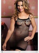 One Size thru 22 Plus SEXY Lingerie Mini Dress #30 Black Fishnet Exotic Clubwear