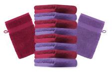 10er Pack Waschhandschuhe Premium Farbe: Dunkelrot & Lila, Größe: 17x21 cm