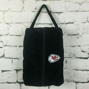 """KC Kansas City Chiefs 13"""" Suede Faux Fur Embroidered Tote Carry Duffle Bag NFL"""