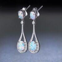 Trendy 925 Silver Opal Ear Studs Dangle Drop Earrings Women Wedding Gift Jewelry
