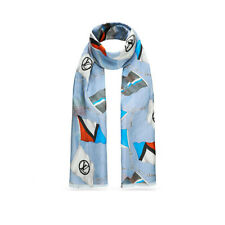 LOUIS VUITTON FLAGS BLUE COTTON, CASHMERE & SILK STOLE MP1673 AUTHENTIC NEW!