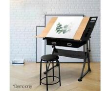 Two Drawers Tilt Drafting Tabletop Drawing Art Table Computer Study Desk w Stool
