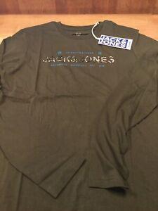 Jack & Jones Boys Thad long sleeved T shirt in khaki  age 9-16