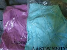 2 Lands' End Women's Relaxed Supima Cotton Short Sleeve V-Neck T-Shirts XL NEW