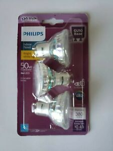 Philips 120V 4W LED 50W Replacement Dimmable MR16 GU10 Base Indoor Flood Bulb