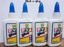 4 X PVA Glue 60ml Multipurpose Adhesive Paper Cardboard Wood Craft Home School