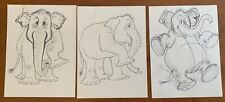 3 Orig T HEE Disney Animation Artist Ink Over Pencil Character Drawings ELEPHANT