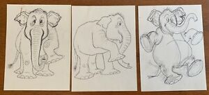 3 Orig T HEE Disney FANTASIA Animation Artist Ink Over Pencil Drawings ELEPHANT