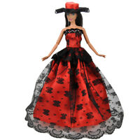 NE_ HANDMADE FASHION CLOTHES WEDDING PARTY GOWN FULL DRESS CAP FOR BARBIE DOLL