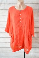 Hourglass Top Sz 16 XL 18 Red Broderie Anglaise Tunic Smock