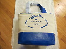 Kate Spade New York Tote Heritage Spade Logo Natural & Blue $198 Auth. New NWT