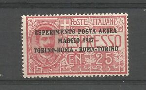 ITALIA REGNO 1917 25 cent ESPRESSO sovrast. ESPERIMENTO P.Aerea Torino/Roma e Ri