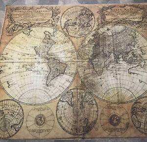 WORLD HEMISPHERES / Planiglobii Terrestris Mappa Universalis Utrumq 1746