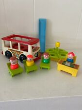 Vintage Fisher Price 1969 Mini School Bus And School House Accessories