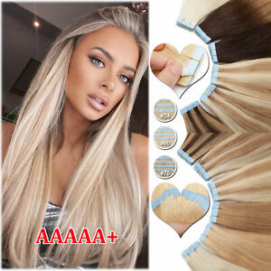 6A+ THICK Tape In Brazilian 100% Remy Human Hair Extensions Skin Weft Blonde USA