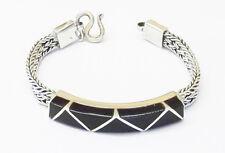 Black onyx ethnic heavy silver bracelet