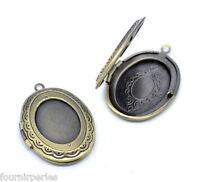5 Pendentifs Médaillon Ovale Porte Photo Bronze Support Pour Cabochon 34x24mm