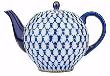 Russian Cobalt Blue Net 60-oz Teapot Kettle Saint Petersburg 24K Gold Bone China