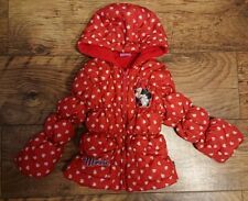 ❤️Girls Minnie Mouse red love heart padded puffer jacket coat age 18-24 months.