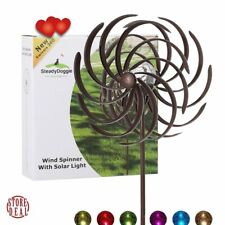 Lawn Wind Spinners Outdoor Solar Powered Glass Ball Kinetic Garden Sturdy New