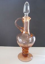 Large Antique Hand Blown & Formed Rose Blush Glass Ewer / Decanter W 3 Ball Stem