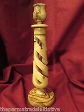 Handmade Olive Wood Large Groove Decorative Candlestick 25cm Bethlehem Palestine