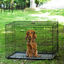 Dog Cage Puppy Dog Pet Crate Carrier 2 Doors Metal Folding Training Kennel 36""