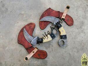Custom Handmade Knife King's Made Bone & Horn Damascus Karambit Knife ( pair)