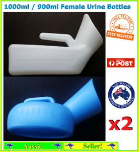 2x Female Urine Bottles Bottle 900ml/1000ml Plastic White Blue Reusable New