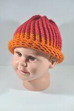 Raspberry Pink Burnt Orange Hand Knit Hat Beanie Toddler Child 100% Acrylic