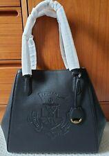 Ralph Lauren Huntley Med Embossed DESIGNER Logo Leather Tote Bag Black