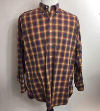 Vintage GITMAN Bros Stained Glass Plaid Mens L Button Down Cotton Shirt USA