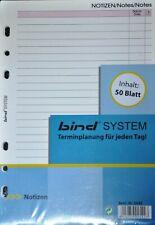 BIND System A5 Notizpapier Notizblätter Liniert Ringbuch Einlagen 50 Blatt B2542