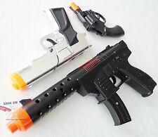 3x Toy Guns Military KG-9 Pistol Silver 9MM Detective Revolver Cap Gun Set