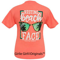 "Girlie Girl Originals ""Beach Face"" Retro Heather Coral Short Sleeve T-Shirt"