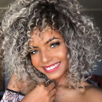 Synthetic Short Afro Curly Wig Ombre Grey Full Wigs With Bangs For Black Women