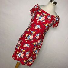 New Ultra Flirt L Large Dress Red Floral Bodycon Stretch Cap Sleeve Stretch V2