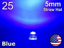 25pcs 5mm Blue Straw Hat LED - Wide Angle Water Clear Light Emitting Diode
