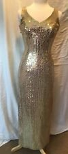 Robert Anthony Vintage Sequin Long Dress Gold Spandex Womens Size 4