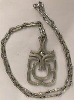 Vintage Designer Signed Avon Silver Tone Bar Link Costume Pendant Necklace