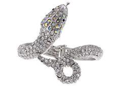 Ali-Market Metal Alloy Clear AB Crystal Rhinestone Snake Cuff Bracelet Bangle