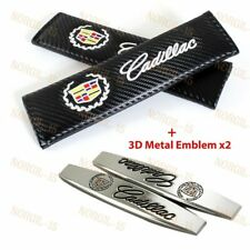Carbon Fiber Look Seat Belt Cover Shoulder Pads + 3D Metal Emblem for Cadillac